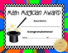 Acknowledge your students' achievement with award certificates. The Math Magician Award certificate is great for upper elementary through middle school students.