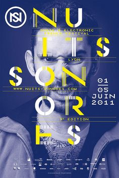 A quirky facial expression really captures the eye as opposed to the text being of importance - this strategy lures the viewer in from a distance and encourages them to then draw closer and read the text. Navy blue monotone image and yellow/white text overtop. Scattered text makes for an interesting hierarchy and placement of words.