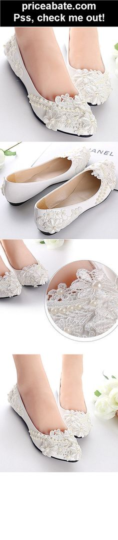 Flat/4cm/8cm White Wedding shoes flat ballet lace pearls flower Bridal size 5-10 - #priceabate! BUY IT NOW ONLY $29.99