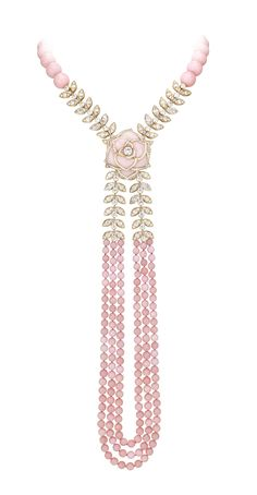 Piaget Rose Passion necklace in rose #gold, diamonds and rose opals