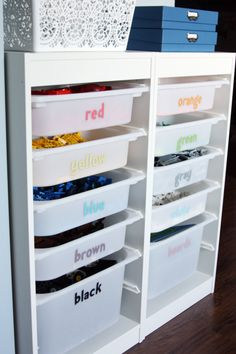 Lego Storage~ If you or your child loves Legos, then create a wonderful storage solution using storage bins that allow you to store your Legos by color. Then, label each bin with letters spelling out the color of the bricks inside. Organisation Hacks, Playroom Organization, Playroom Ideas, Legos, Trofast Regal, Trofast Ikea, Organizar Closet, I Heart Organizing, Lego Organizing