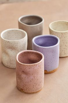 Speckled Ceramic Cups - - Hand thrown on the wheel and then… squish! Fun to hold and drink from. Ceramic Tableware, Ceramic Plates, Ceramic Pottery, Pottery Art, Pottery Studio, Slab Pottery, Ceramics Pottery Mugs, Ceramics Ideas, Ceramic Coffee Cups