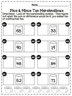 Winter themed place value handouts, tens and ones. First