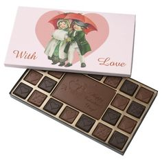 Vintage Valentine Girl and Boy Chocolate