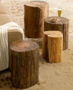 mobila constanta - Masuta cafea si scaune din busteni
