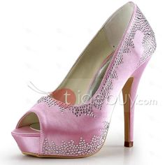 Fantastic Pebbles Pink Satin Wedding Shoes