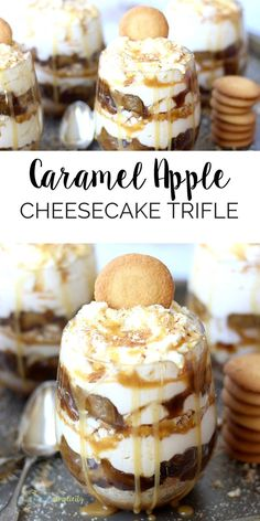 This no-bake Caramel Apple Cheesecake Trifle is THE best dessert recipe! It's easy to assemble and the layers taste rich and delicious.