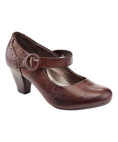 Brown Brogued Heel Pump