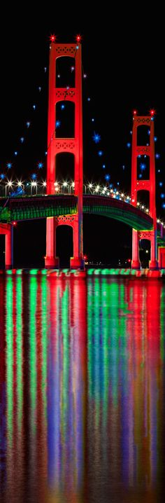Mackinac Bridge that connects lower Michigan to Northern Michigan shown with LED lighting