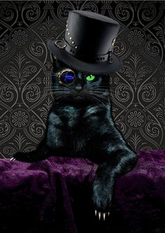 STEAMPUNK CAT The Ripper Digital Print Choice of by BlueCatMum, This reminds me of a black cat that i use to have before he passed. Cool Cats, I Love Cats, Crazy Cats, Chat Steampunk, Steampunk Kunst, Steampunk Costume, Fantasy Kunst, Fantasy Art, Steampunk Animals
