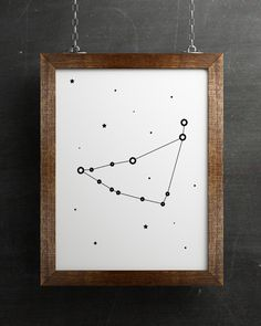 Capricorn zodiac print, Capricorn constellation, Astrology print, astronomy art, Black and white poster by HamptyDamptyArt on Etsy