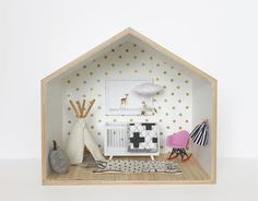 Dolls house with mini furniture Modern Dollhouse, Diy Dollhouse, Dollhouse Furniture, Dollhouse Miniatures, Baby Decor, Nursery Decor, Nursery Room, Miniature Rooms, Diy For Kids