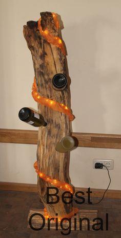 Treibholz als Flaschenhalter mit Beleuchtung