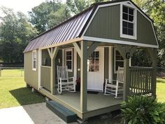 Shed To Tiny House, Tiny House Cabin, Tiny House Living, Tiny House Design, Small House Plans, Lofted Barn Cabin, Shed Cabin, Bunkhouse, Shed Homes