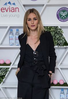 Olivia Palermo looks elegant in plunging jumpsuit with husband Johannes Huebl at Wimbledon in south London on June 30, 2016