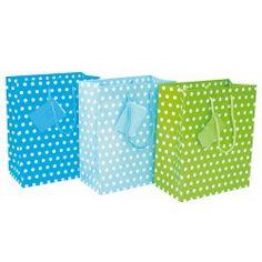 3 Geschenktaschen blau mit weißen Punkten von JaBaDaBaDo