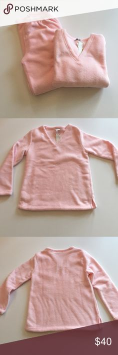 """NWOT Charter Club Pink Heavy Fleece Pajamas Excellent condition. Never worn but have been washed. Super soft, super warm fleece. Light pink. Top is V neck pullover. 19"""" from armpit to armpit. 24.5"""" long. Pants have elastic waist. Waist 25"""". Inseam 30"""". 100% polyester. Not from a smoke free house. Charter Club Intimates & Sleepwear Pajamas"""