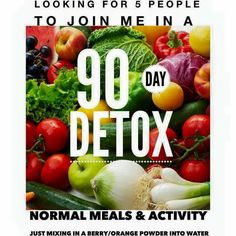 I'm looking for 5 more people who want to get a jump start on the holidays by detoxing your body !!!!!   Get my discounted price while you do it :-)  90 day challenge people!!!!
