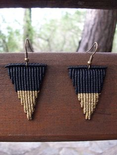 Triangle macrame earrings Minimal style geometric design