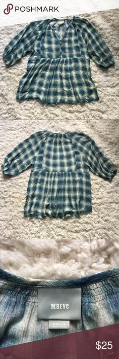 Anthropologie Blue Top Anthropologie Mauve Calavon peplum top size M. Color is blue plaid with hints of yellow.  Pink top just to show fit not the one being sold. Cute buttons. Worn once. Offers welcomed! Anthropologie Tops