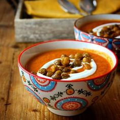 Moroccan Spiced Roasted Carrot, Red Pepper and Tomato Soup with Spiced Chickpeas