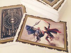 Printed deck with double backed card and art card turned up. #playingcards #fantasy #elves #dwarves #elven #dwarven #armor #king #queen #knight #jack #ordinator #kingdomsoferden #runes #kelticknot #eagle #skull #ram #scale #mail #shield #duel #scepter #sword #axe #crown #helmet #hearts #rose #red #diamonds #sigil #blue #feather #wing #thorns #clubs #clover #poisonivy #leaf #beard #spade #ace #juggler #jester #joker