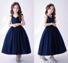 2018 New Arrival Navy Blue Cute Tulle Flower Girls Dresses With Sash V Neck Zipper Back Tea Length Girls Pageant Gowns Girls White Dress, Girls Tutu Dresses, Tutus For Girls, Dresses Uk, Winter Dresses, Casual Dresses, Tulle Flower Girl, Flower Girls, Blue Flower Girl Dresses