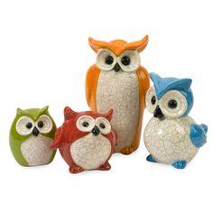 Colorful Ceramic Owls.