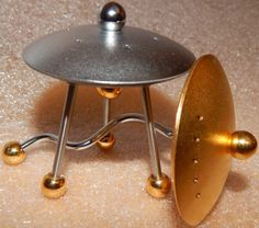 Mid-century modern UFO salt and pepper shakers