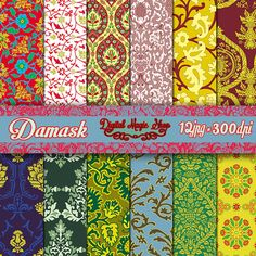 12 Renaissance Damask Digital Paper Pack Part by DigitalMagicShop, $2.50