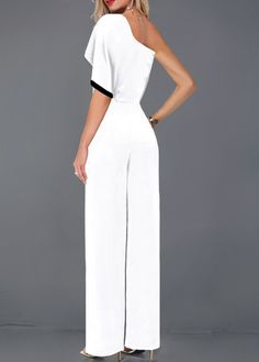 Contrast Piping White One Sleeve Jumpsuit White Jumpsuit, Jumpsuit With Sleeves, Printed Jumpsuit, Long Jumpsuits, Jumpsuits For Women, Fashion Jumpsuits, Vintage Overall, Latest Fashion Clothes, Fashion Dresses
