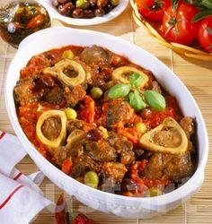 Marhalábszár nápolyi módra - Ossobuco Chili, Soup, Beef, Dishes, Recipes, Drink, Italy, Meat, Plate