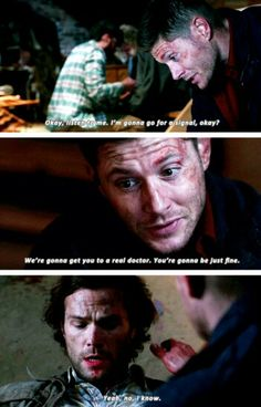 "NO NO NO SAM'S RESPONSE THOUGH. ""Yeah, no, I know."" HE KNOWS THAT HE IS GOING TO BE FINE. HE KNOWS THAT HE IS GOING TO BE FINE BECAUSE DEAN HAS ALWAYS, ALWAYS, ALWAYS TAKEN CARE OF HIM NO MATTER WHAT. I MAY OR MAY NOT BE CRYING RIGHT NOW."