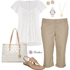 White and Tan by hrtheo on Polyvore featuring maurices, Aerosoles, MICHAEL Michael Kors, MARC BY MARC JACOBS, Tory Burch and Kate Spade