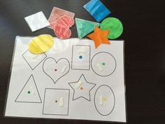 Here is an activity on shapes to make yourself so that your child can learn in a fun way different shapes: square, round, star … - Activities For Boys, Autism Activities, Infant Activities, Kindergarten Activities, Educational Activities, Autism Education, Montessori Math, Sensory Issues, Autistic Children