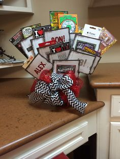 My son's 18th birthday gift. Gift cards, lottery tix & $$$...18 envelopes. All envelopes individually decorated.