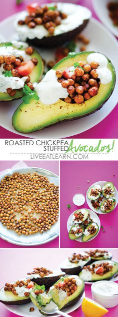 Spicy roasted chickpeas, creamy avocado, and tangy garlic and herb yogurt sauce make this flavor powerhouse stuffed avocado recipe! It's a healthy, protein-packed vegetarian main or side dish that you can pack for lunch or serve for dinner. // Live Eat Learn