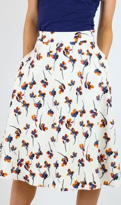 Cream Floral Circle Skirt [MSF1100] - $34.99 : Mikarose Boutique, Reinventing Modesty
