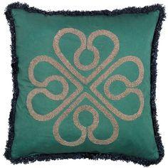 Day Birger Et Mikkelsen Flower Fringe Cushion Cover - Jade - 50x50cm ($160) ❤ liked on Polyvore
