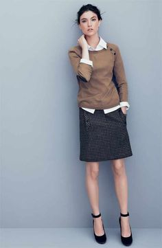 A great outfit for work.  Layer a buttondown (even your chambray) and sweater over a pencil skirt.