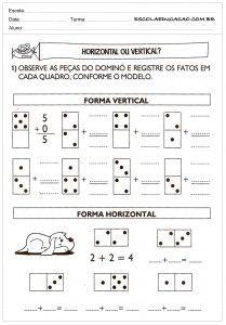 Atividades de Matemática 2º ano Horizontal ou Vertical