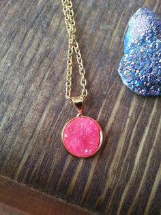Gold Druzy Charm Necklace Hot Pink Stone Iridescent Dainty Minimalist Fashion Jewelry