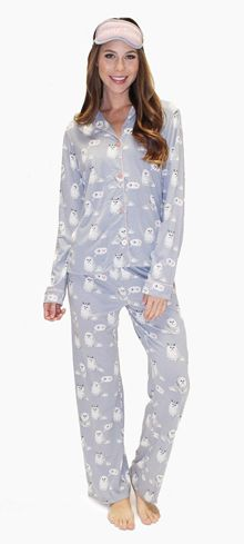 "PJ Salvage Women's Playful Prints ""Purrty Tired"" Cotton Pajama in Dove"