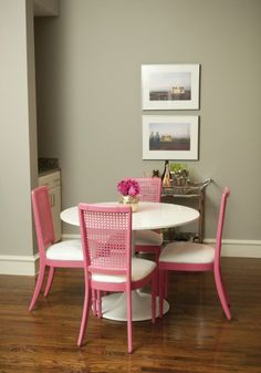 Break out the spray paint and go buck nutty with some bubble gum pink dining chairs. When the results are this lovely, it's kind of a no brainer! --> In a different color for sure! | 25 Pink Rooms That Wow - Style Me Pretty Living