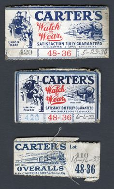 Early 1930s Carter's Overalls Waistband Size Tags