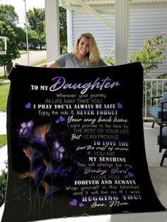 All of ourBlanketsare custom-made-to-order and handcrafted to the highest quality standards.3 size available: 30x40in - 50x60in - 60x80in. Custom Personalized option for a unique gift. Material Info: Our ultra-soft, lightweight fleece blankets feature hemmed edges and are vibrantly printed on one side. Plush & warm enough for an in-home accessory and lightweight enough to take on-the-go! Do not iron or press with heat; Do not dry clean Production Time:3-5 days (*)Shipping Time:   Standa Soft Blankets, Fleece Blankets, Quilt Material, Girls Fleece, Personalised Blankets, Hug You, Photo Quality, Back Home, To My Daughter
