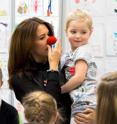 Denmark's Crown Princess Mary participates as patron of Rare Disorders in the event of Disability Organizations House on the occasion of this year's Rare-Day 26.02.2015. The Crown Princess meets children and a hospital clown.