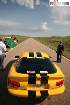 This yellow Dodge Viper GTS awaits the start of the standing half mile in the Nebraska Sand Hills