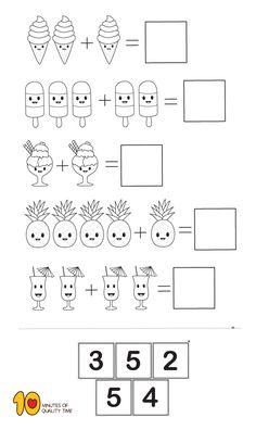 Math for Kindergarten- Simple Addition - Modern Design Printable Preschool Worksheets, Kindergarten Math Worksheets, Math Literacy, Math Math, Preschool Writing, Numbers Preschool, Preschool Learning Activities, Math Lesson Plans, Math Lessons