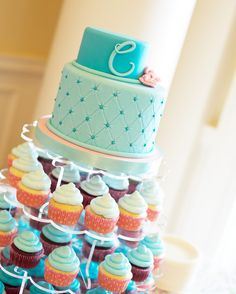 Cake and cupcakes at a Spa Party #spa #partycake